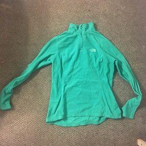 The North Face green fleece quarter zip
